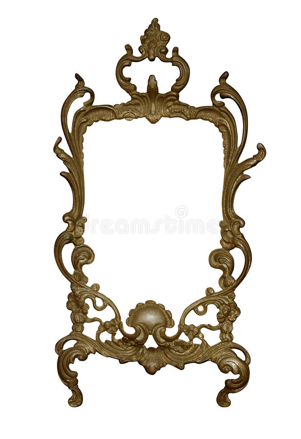 Antique golden frame isolated on white background with clipping path.European art royalty free stock photo