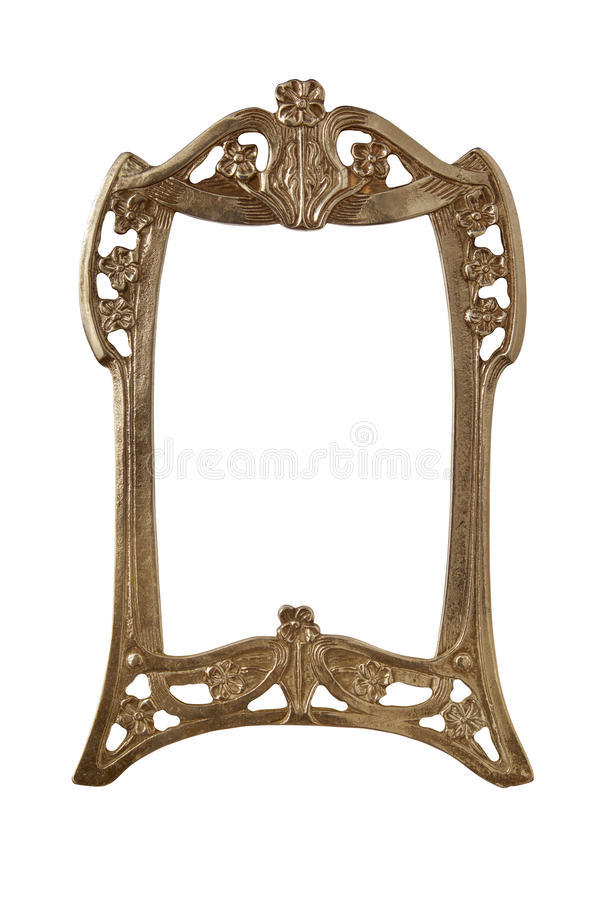 Antique golden frame isolated on white background with clipping path.European art stock image