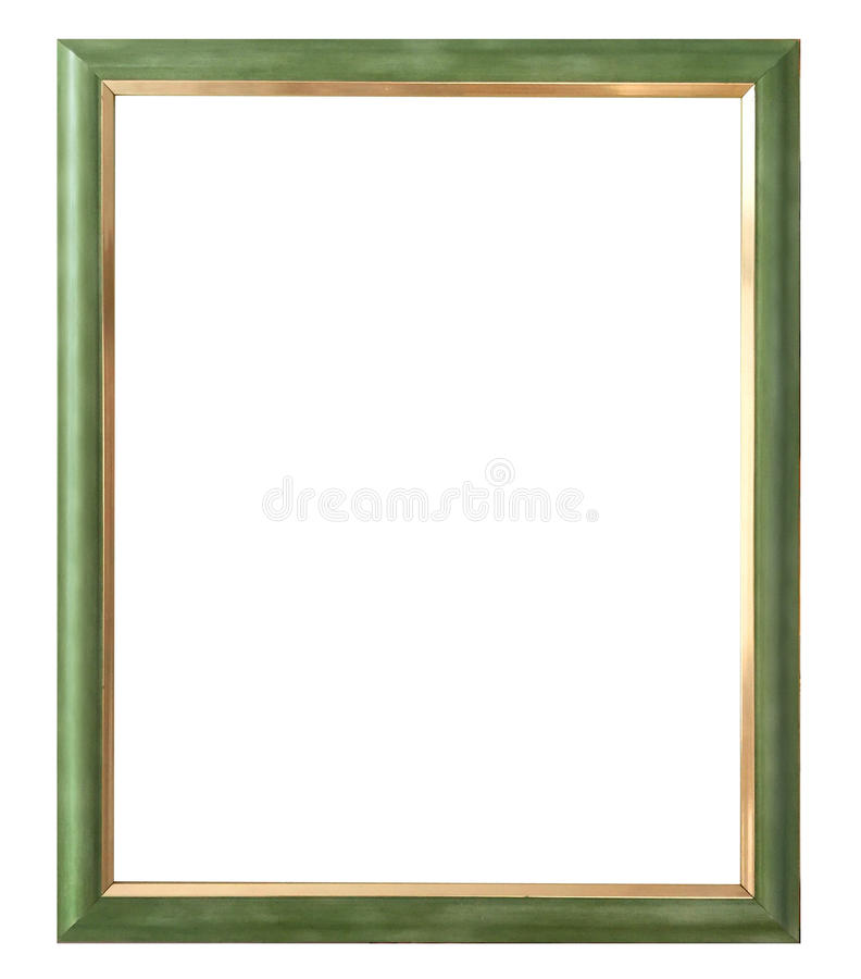 Antique golden frame isolated on white background with clipping path.European art stock photo