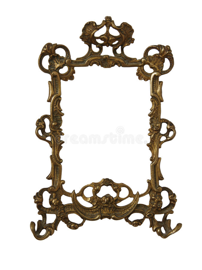 Antique golden frame isolated on white background with clipping path.European art stock images