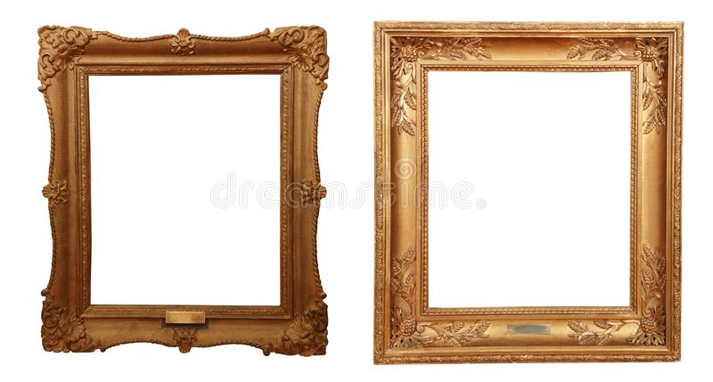 Antique golden frame isolated on white background stock image