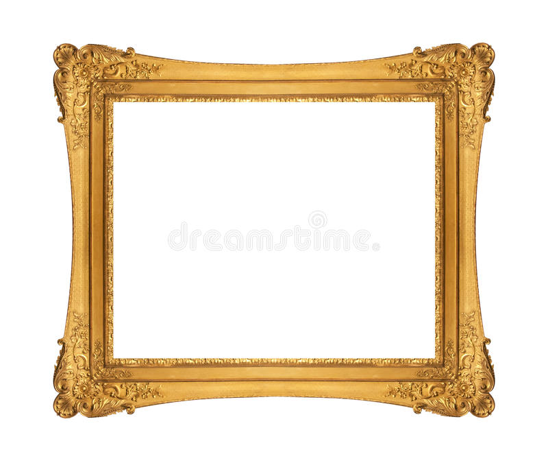 Antique golden frame isolated on white background stock photography