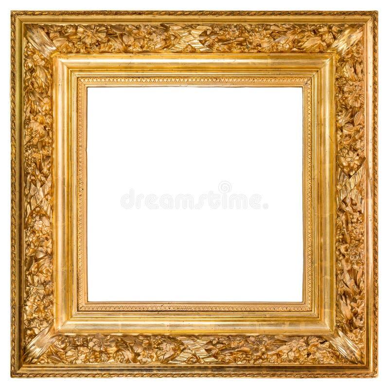 Antique Golden Frame Over White stock photos