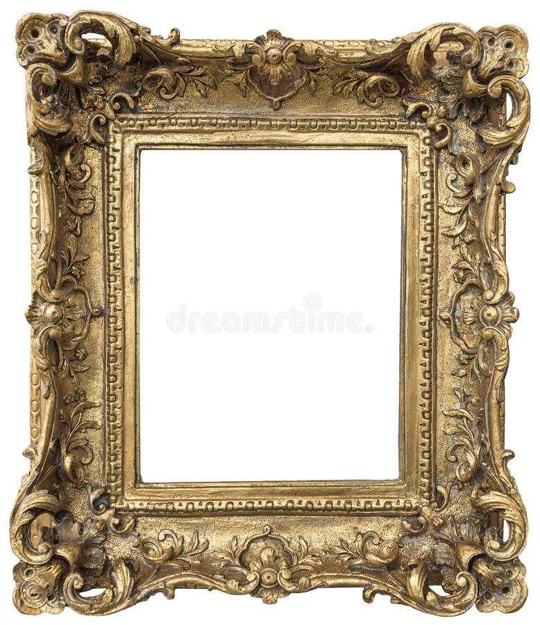 Antique golden frame on white background royalty free stock photos