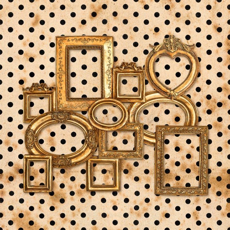 Antique golden framework over vintage polka dot stock photo
