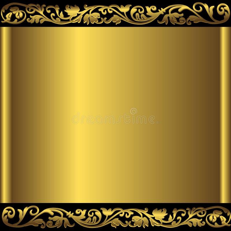 Antique golden metallic frame stock illustration