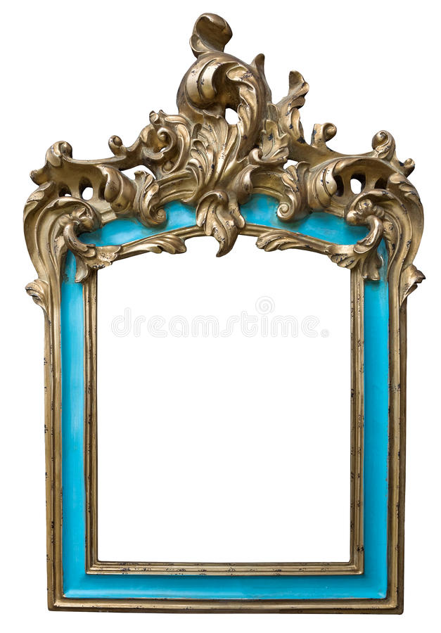Antique golden turquoise frame isolated on white background stock photography