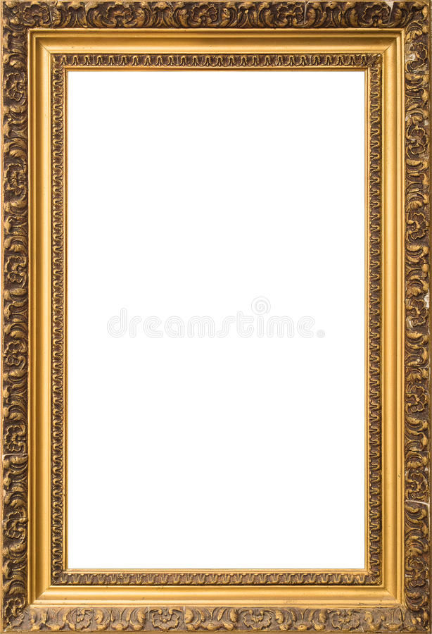 Antique golden wooden frame isolated on white background royalty free stock photo