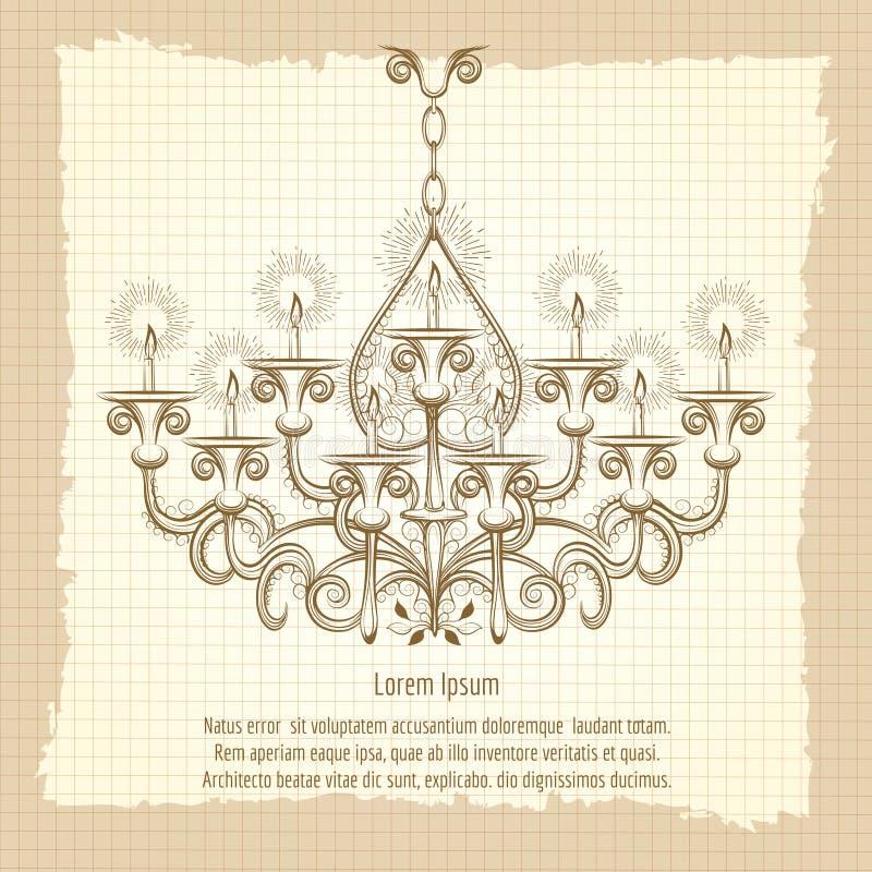 Antique gothic chandelier sketch. On vintage background. Retro poster vector illustration vector illustration