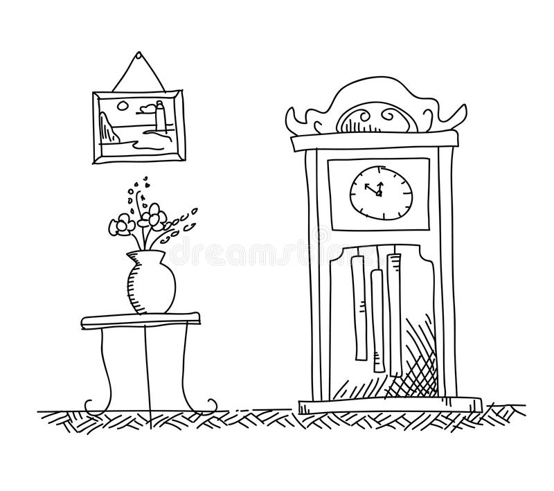 grandfather clock drawing. download antique grandfather clock longcase stock vector image 73802335 drawing k