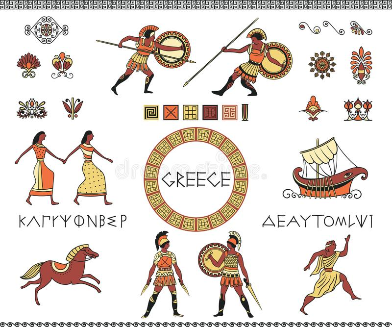 Antique Greece. Collection of decorative design elements. Ancient greek letters of alphabet, people, ship, horse and ornament. vector illustration