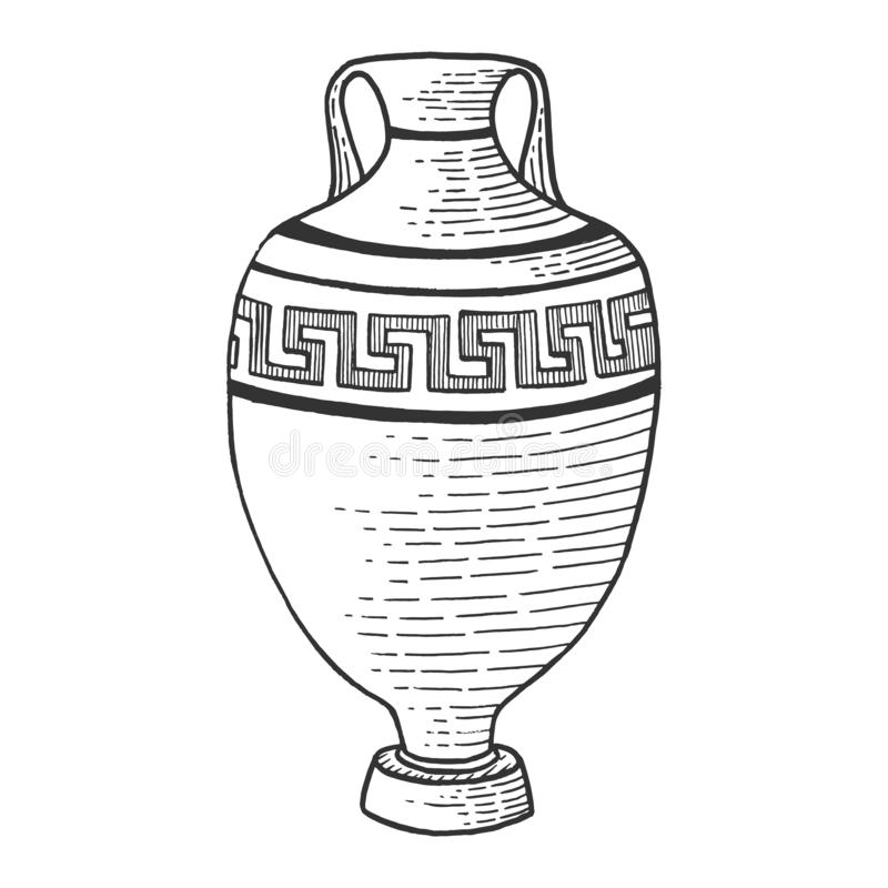 Antique greek amphora sketch engraving vector royalty free illustration