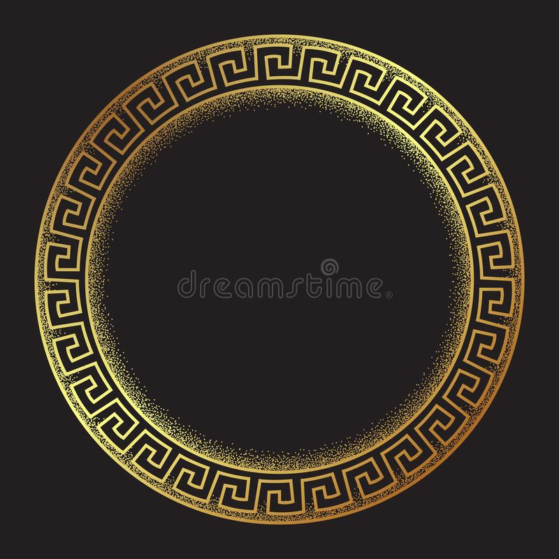 Antique greek style gold meander ornanent hand drawn line art and dot work round frame design vector illustration. vector illustration