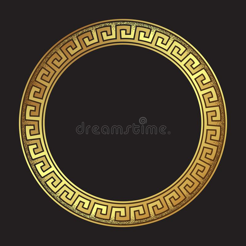 Antique greek style gold meander ornanent hand drawn line art and dot work round frame design vector illustration. stock illustration