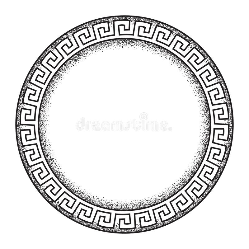 Antique greek style meander ornanent hand drawn line art and dot work round frame design vector illustration. royalty free illustration