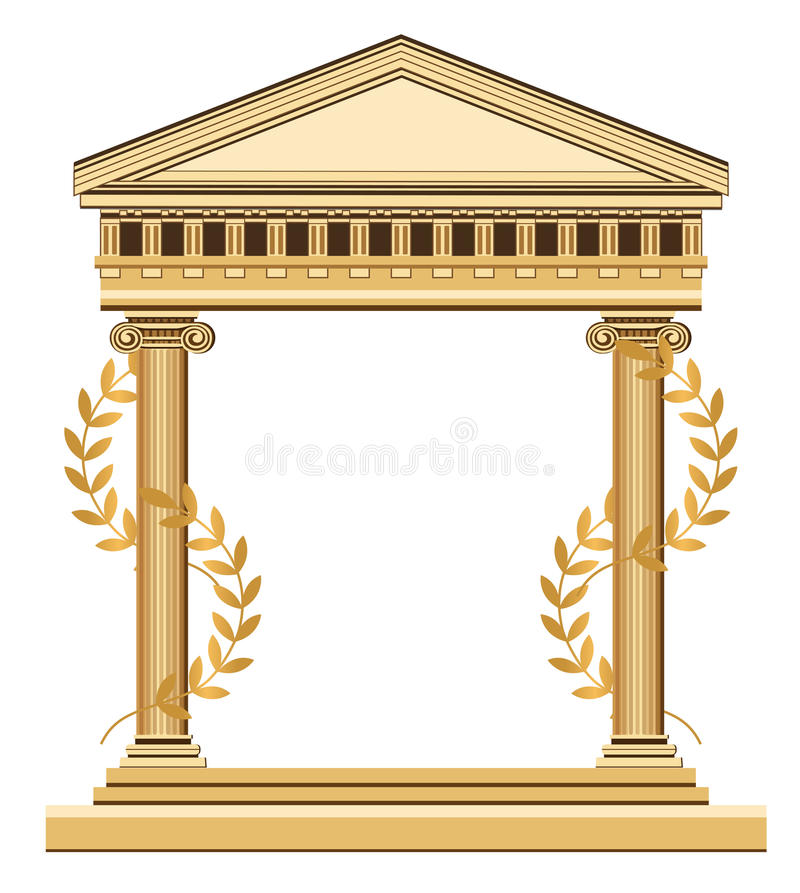 Antique Greek Temple. Illustration of an antique temple with olive branch, isolated on white