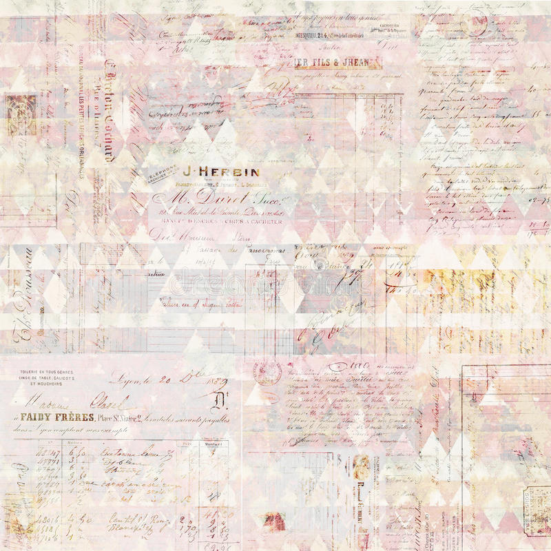 Free Antique Grungy French Invoice Collage Background In Pastel Colors Stock Photos - 59858183