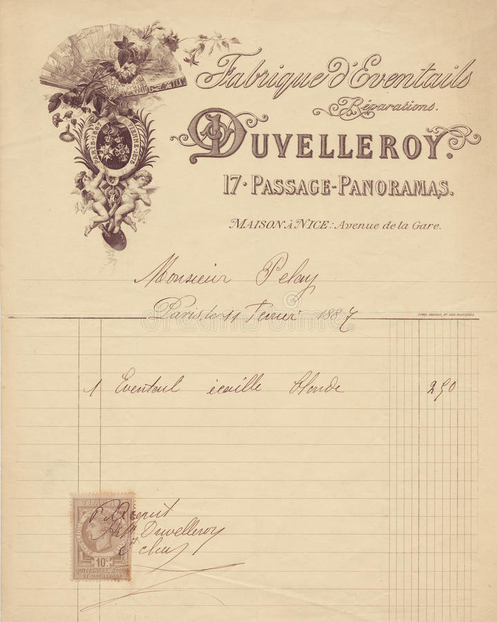 Free Antique Grungy French Invoice Receipt With Cherub Graphic Stock Photos - 59879123