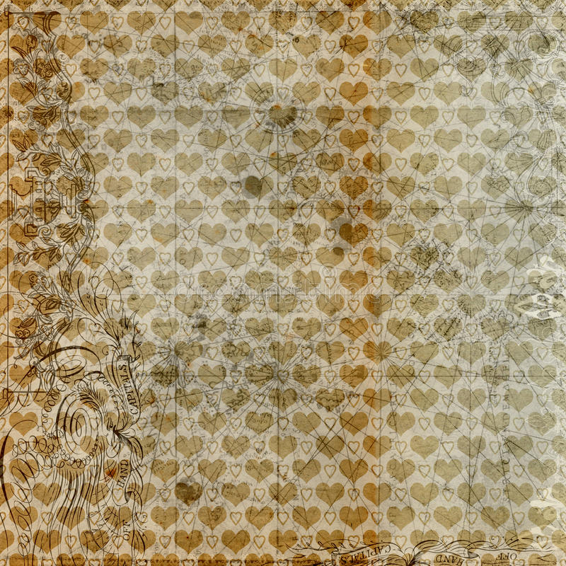Download Antique Grungy Hearts Brown Background Design Stock Illustration - Image: 17632435