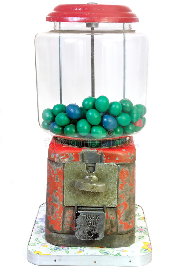 Antique Gumball Machine On White Background Stock Image