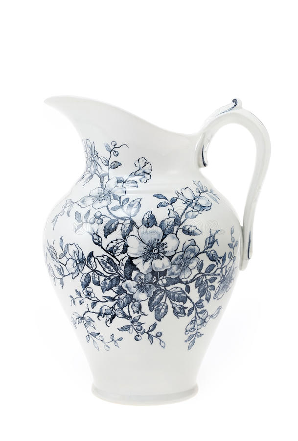 Free Antique Hand Painted Water Pitcher Isolated Stock Image - 19253291