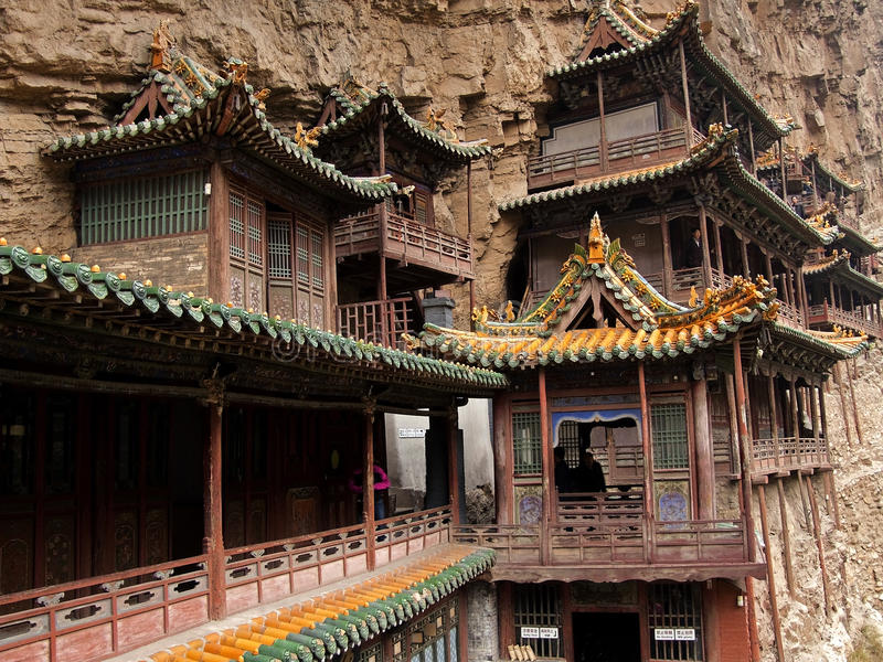 Antique hanging temples located near the Datong royalty free stock photo