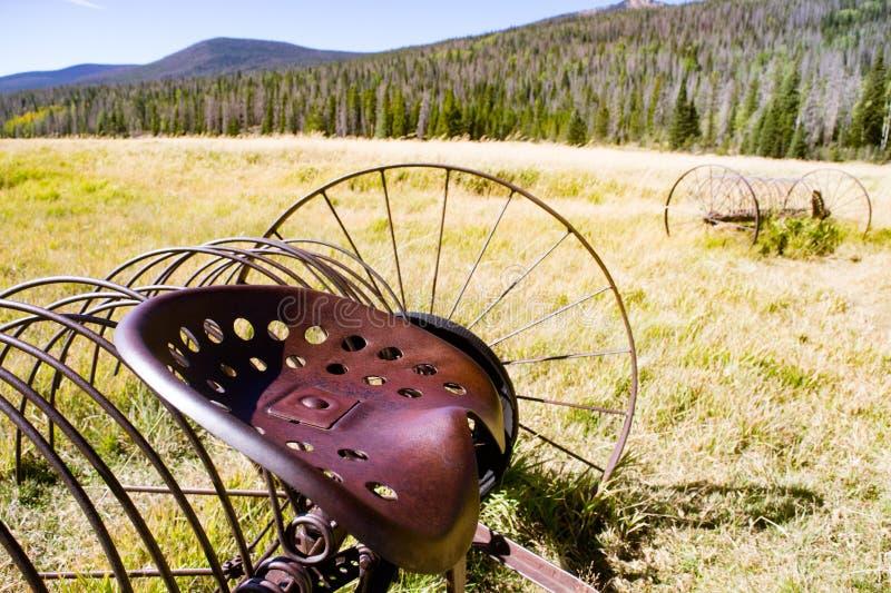 Antique Hay Rakes - Pioneer Geschiedenis stock foto
