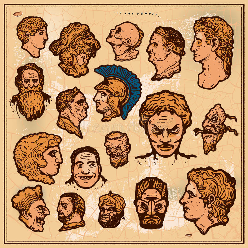 Download Antique heads stock vector. Image of face, copper, historic - 22501504