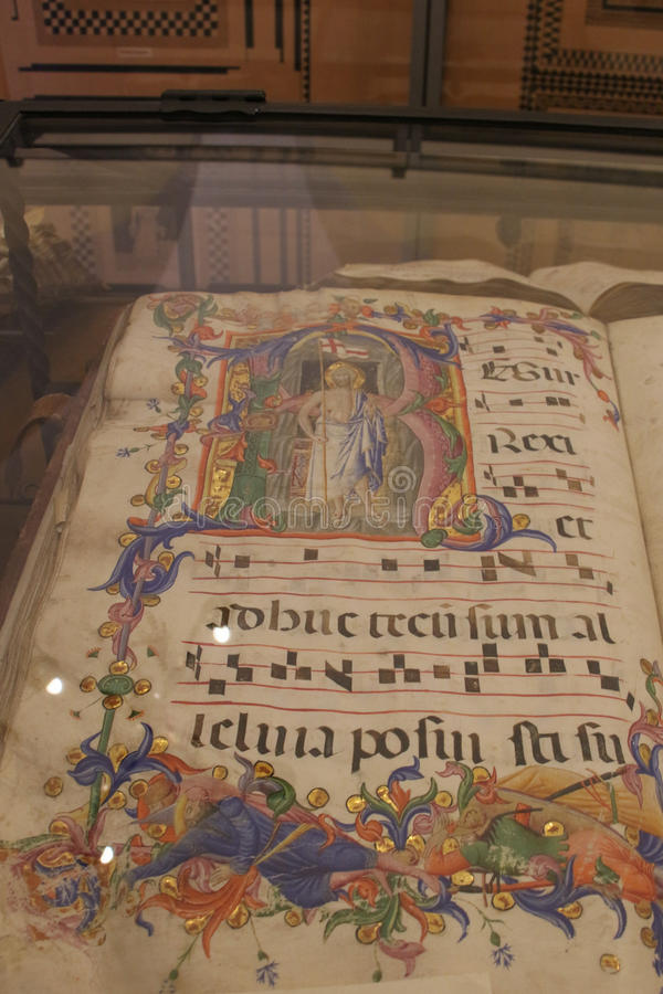 Antique historical archives of Museo dell`Opera metropolitana del Duomo, Siena, Italy. stock image