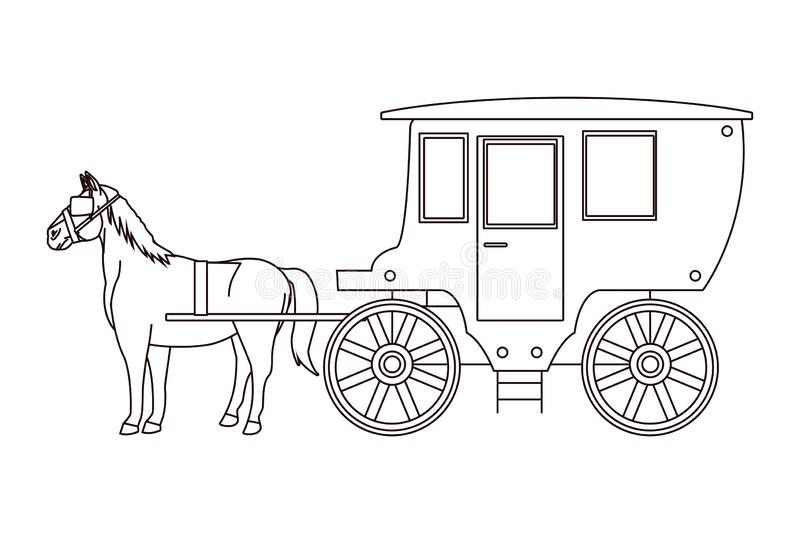 Antique horse carriage animal tractor in black and white. Vector illustration graphic design stock illustration