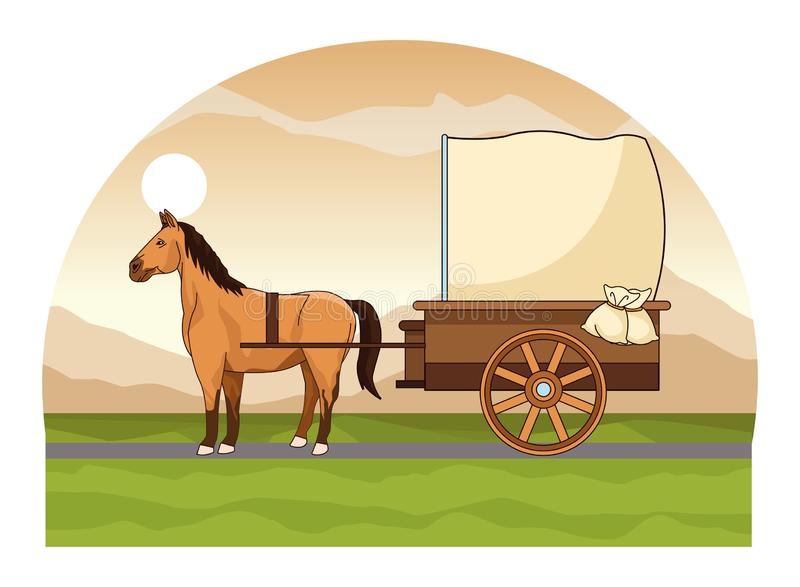 Antique horse carriage animal tractor. Riding on highway landscape background vector illustration graphic design stock illustration