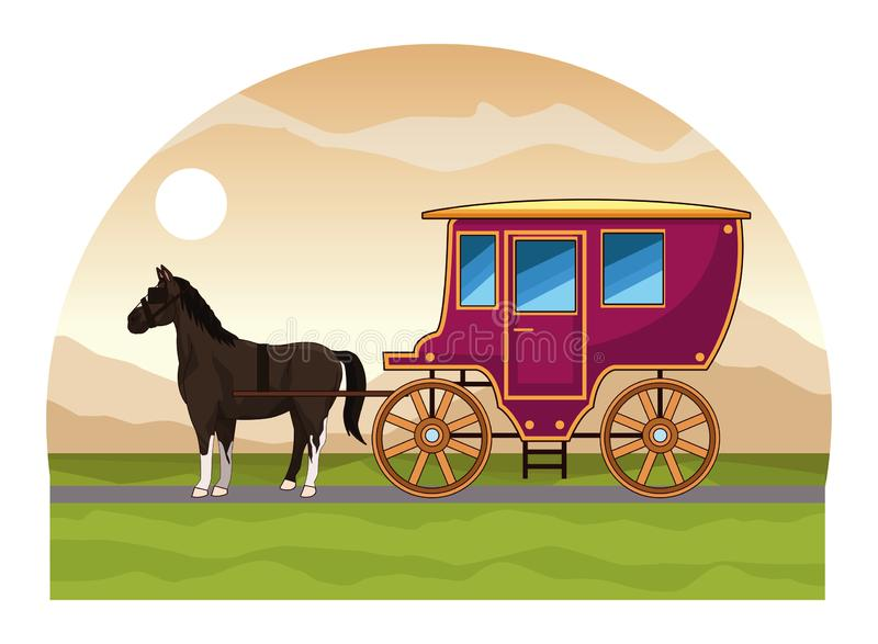 Antique horse carriage animal tractor. Riding on highway landscape background vector illustration graphic design royalty free illustration