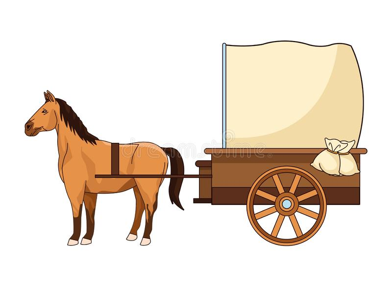 Antique horse carriage animal tractor. Vector illustration graphic design royalty free illustration