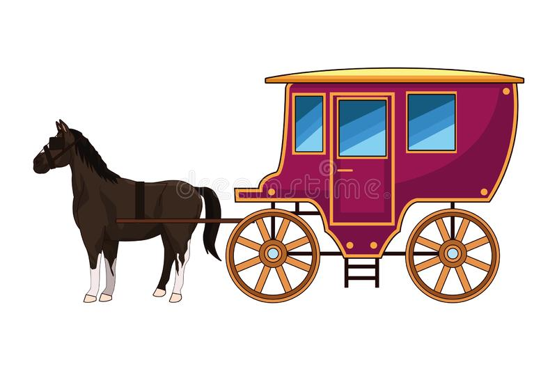 Antique horse carriage animal tractor. Vector illustration graphic design stock illustration