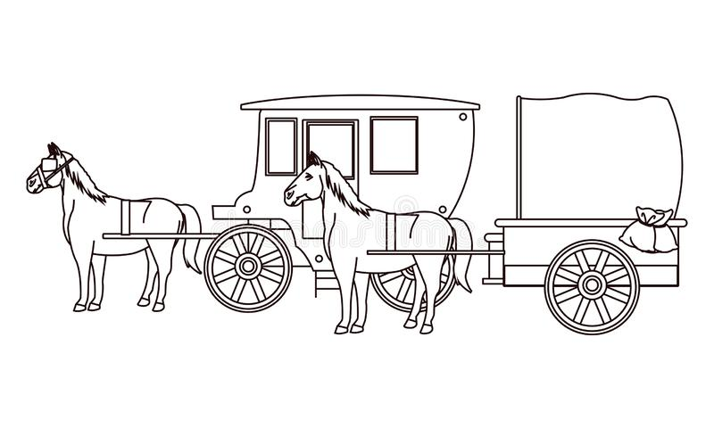 Antique horse carriages animal tractor in black and white. Vector illustration graphic design stock illustration