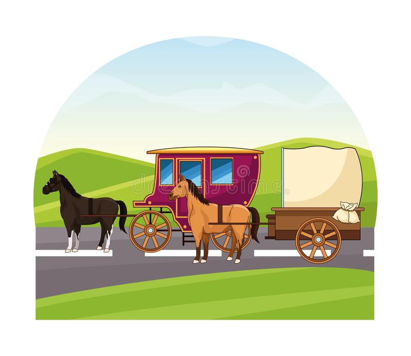 Antique horse carriages animal tractor. Riding on highway landscape background vector illustration graphic design royalty free illustration