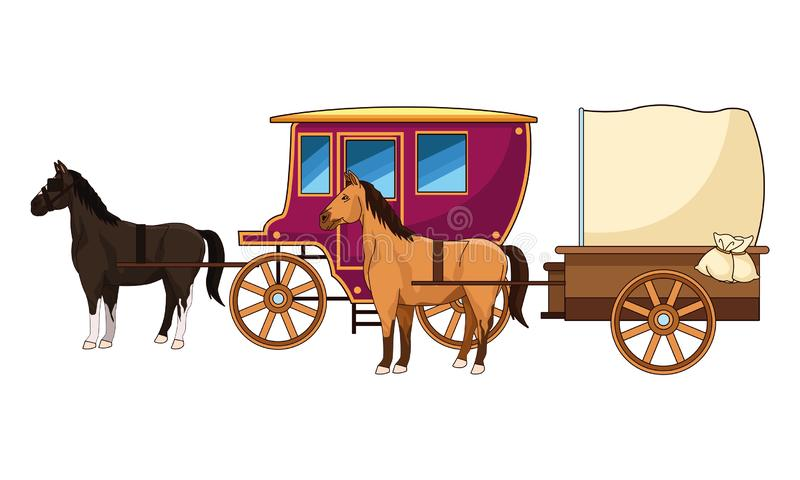 Antique horse carriages animal tractor. Vector illustration graphic design royalty free illustration