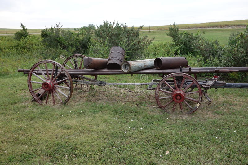 Farm Implement Pieces : An antique horse drawn farm wagon stock photo image