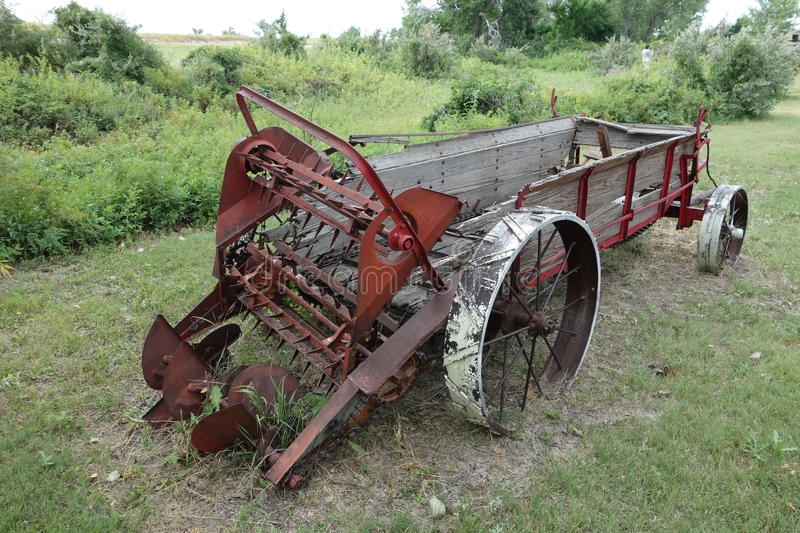 Horse Manure Spreader : An antique horse drawn manure spreader stock photo image
