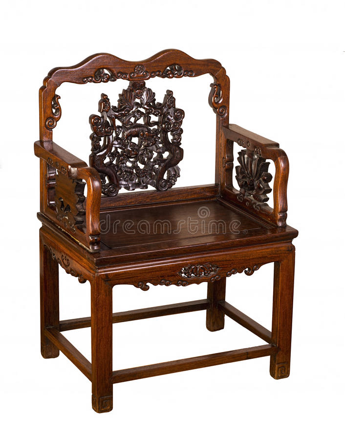 Antique Hung-Mu Chinese Chair. Antique Hung-Mu Chinese chair made in the early 1800's royalty free stock photo