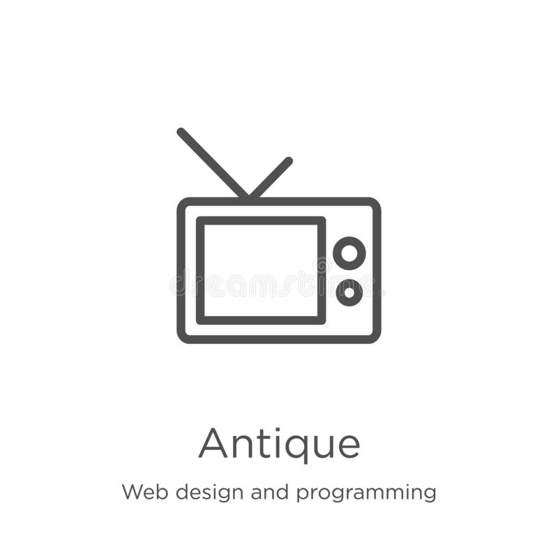 antique icon vector from web design and programming collection. Thin line antique outline icon vector illustration. Outline, thin vector illustration