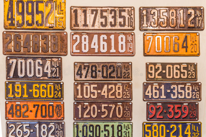 Download Antique Illinois Vehicle License Plates Editorial Stock Image - Image of teens sign & Antique Illinois Vehicle License Plates Editorial Stock Image ...