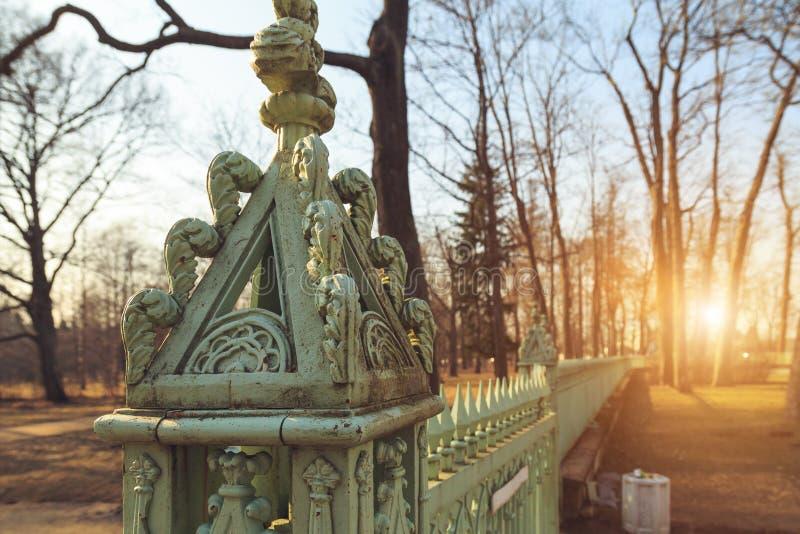 Antique iron fence close-up royalty free stock photo