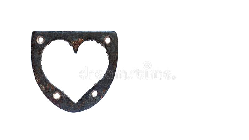 Antique iron heart shape love symbol on white background. Vintage rusty decoration element for valentines day card. Copy royalty free stock images