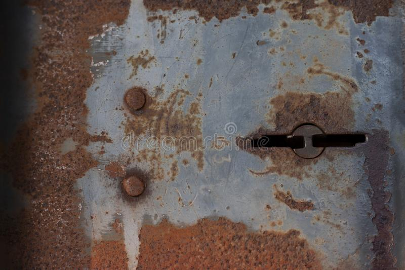 Antique iron keyhole that rust. royalty free stock images