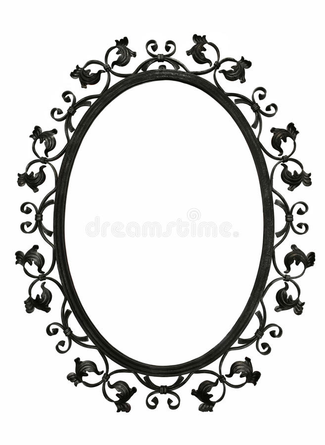 Antique iron mirror frame. With flora decoration, isolated stock images
