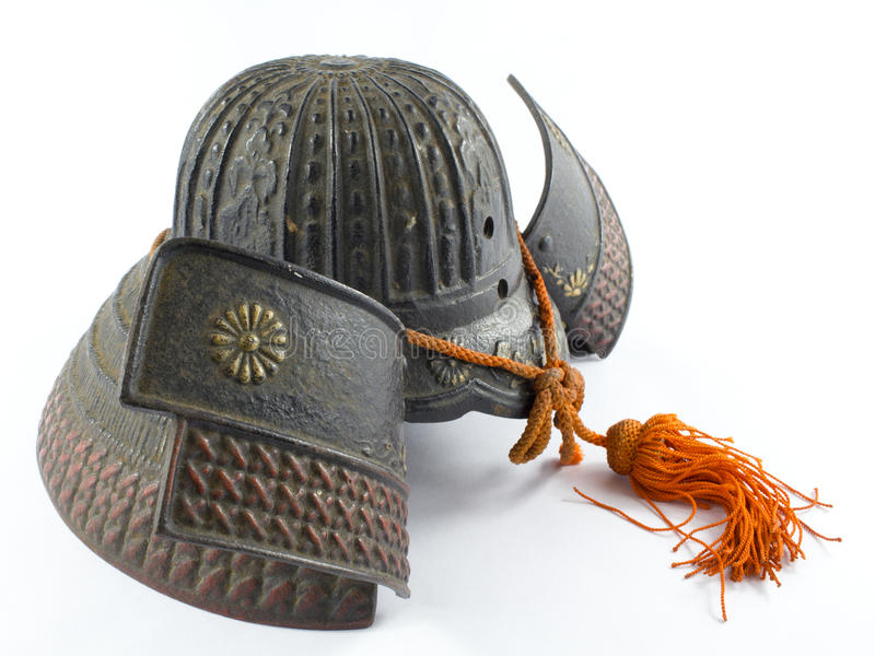 Antique Iron Samurai Helmet stock photo