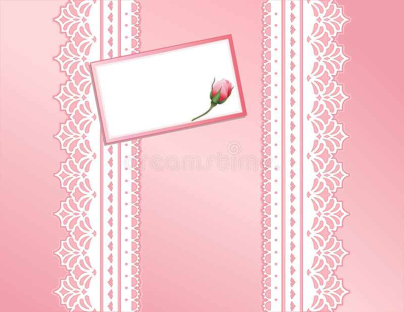antique koronki różowego karty daru prezent ilustracja wektor