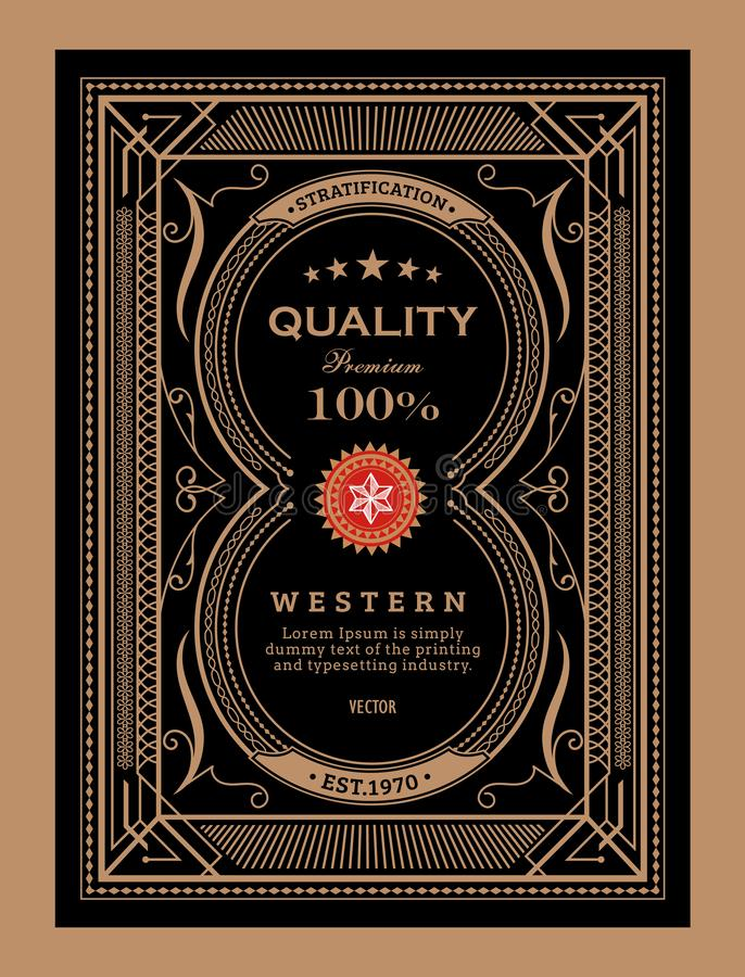 Antique label frame vintage border western hand drawn retro. Vector illustration stock illustration
