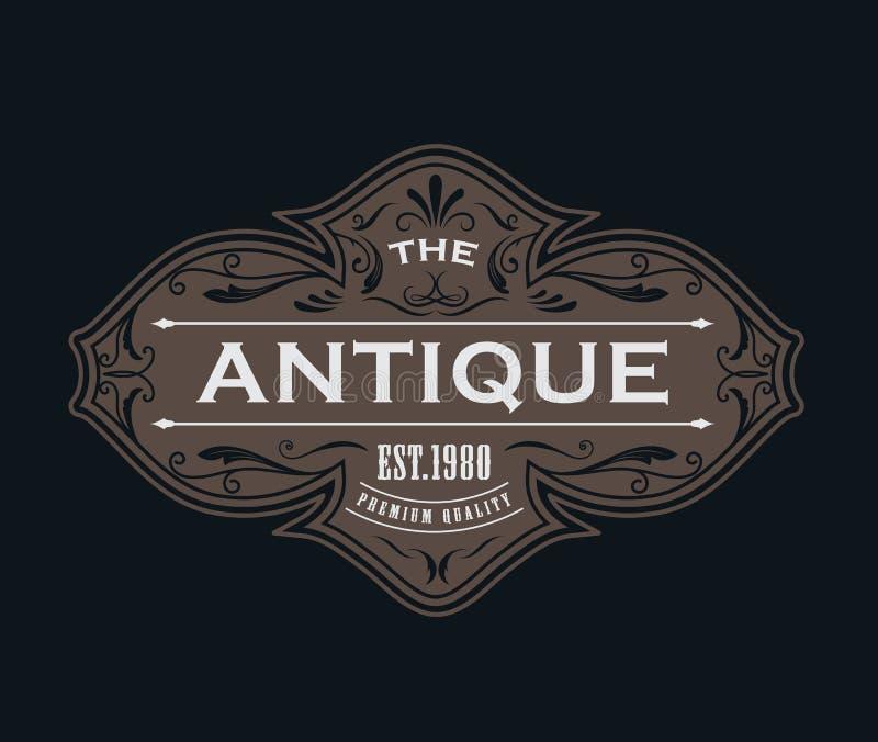 Antique label typography logo vintage frame design vector. Illustration stock illustration